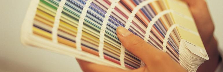 dentista olhando paleta de cores para consultório