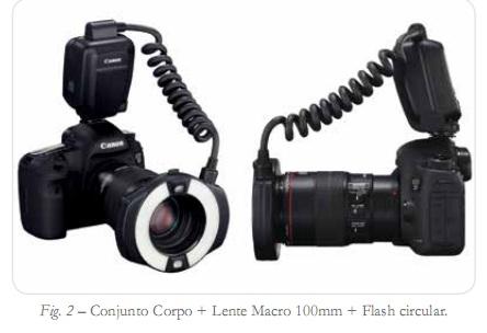 conjunto corpo + lente macro 100mm + flash circular