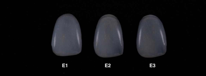 Imagem mostrando as cores de esmalte da resinaAura – SDI (E1, E2, E3)