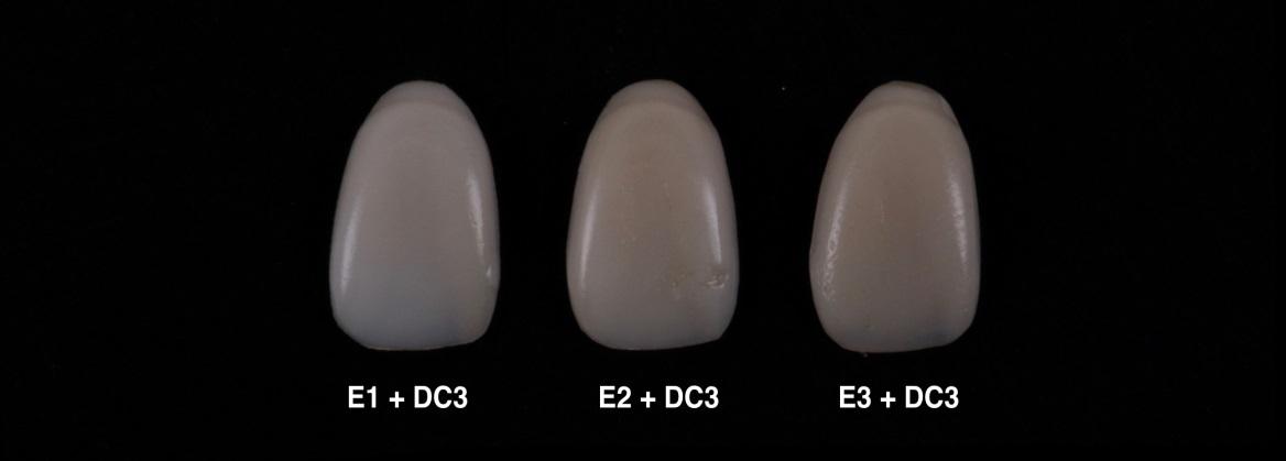 Imagem com as diferentes cores de esmalte (E1, E2, E3) associadas a uma cor única cor de dentina (DC3) mostrando os níveis de valor obtidos pela modulação de cor das cores de esmalte.