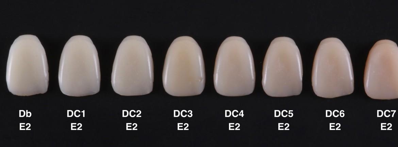 Imagem com as diferentes cores de dentina (Db, DC1, DC2, DC3, DC4, DC5, DC6, DC7) associadas a uma única cor de esmalte (E2) mostrando os diferentes níveis de saturação das massas de dentina