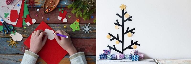 Recorte símbolos do Natal em feltro ou EVA ou faça uma árvore com fita isolante na parede.