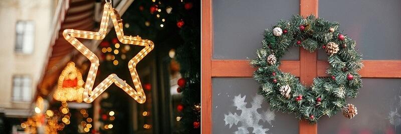 Figuras iluminadas e guirlandas podem ser utilizadas na fachada da clínica.