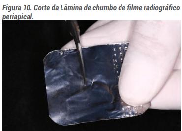 Corte da Lâmina de chumbo de filme radiográfico periapical