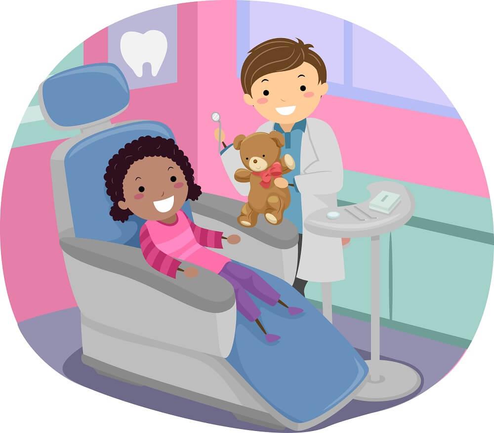 Desenho de menina negra em cadeira odontológica feliz