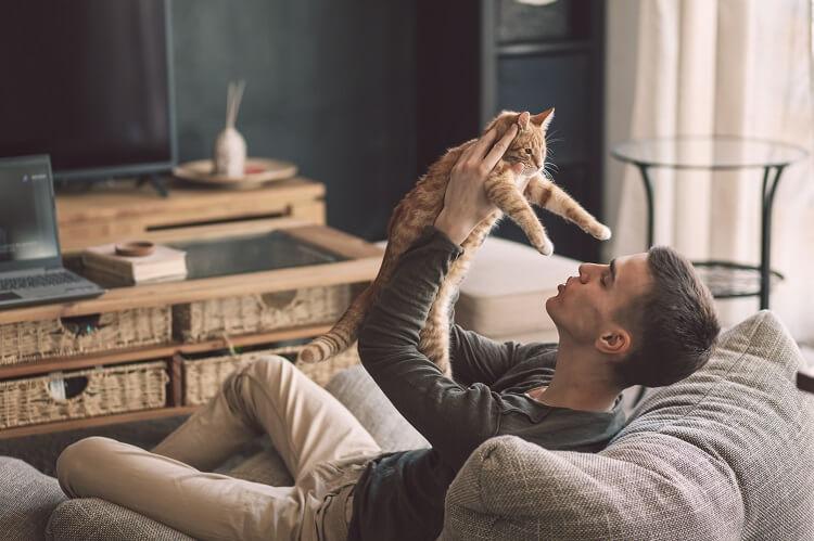 Homem sentado no sofá segurando gato